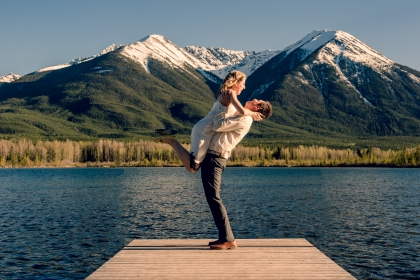 Image from an engagement shot by Dave Di Ubaldo of Worn Leather Media, a Banff Alberta based Wedding Photographer