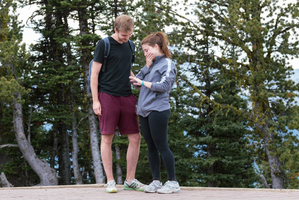 A proposal at Sulphur Mountain in Banff National Park